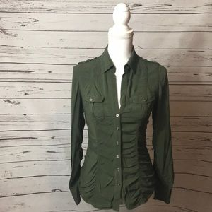 💎 Express military green button down shirt